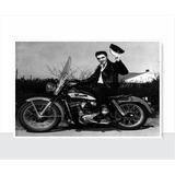 Placa Decorativa Vintage Retro - Elvis Presley Na Moto