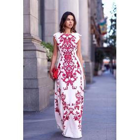 Bonitos Vestidos Moda Coreana En Blanco Con Estampado Roj