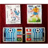 Dante42 Lote 4 Estampillas Peru Copa Mundial Futbol 78,82,94
