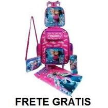 Mochila Rodinhas Frozen +toalha +estojo +lancheira +bolsa Fg