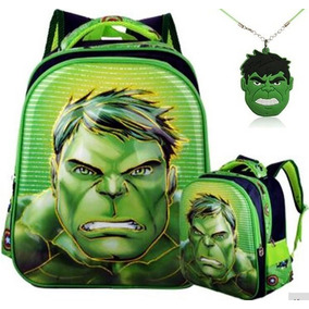 Mochila + Colar Hulk - Escolar Infantil Personagem Em Relevo