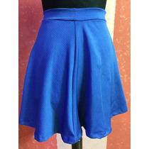 Pollera Lycra Azul Evase Minifalda