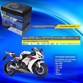 Bateria Moura Ma5-d 5ah Cbr 1000rr Sem Abs 2008 Em Diante