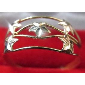 Anel Ouro 18k Amarelo Branco Vermelho Vazado Cinco 5 Estrela