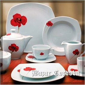 1 Plato Decorado Flor Roja Playo Tsuji L 2418 Cuadr
