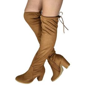 Botas Extra Largas Mujer Tacon 8 Altas Rodilla 58cm Cintas