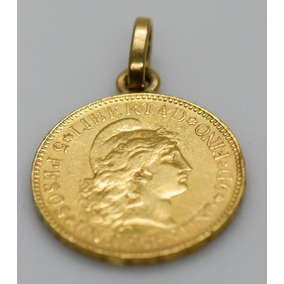 Espectacular Dije Moneda 5 Pesos Argentinos 1886 Oro 24k