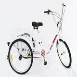 Tricicleta 24 Blanca 6velocidades Shim Con Canasta Trasera**