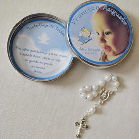 20 Latinhas C Mini Terço Personalizado Lembrancinha Batizado