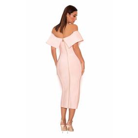 Vestido Rosa Tela Tipo Faja Bandage Midi Coctel Fiesta