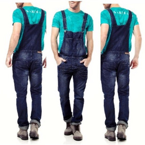 Macacão Jardineira Masculina Jeans Size 38 - 40 Escura