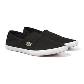 Tenis Zapato Lacoste Marice Negros Lona Originales Slip-ons