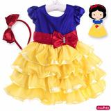 Vestido Festa Infantil Branca De Neve Babados Bambina Tiara