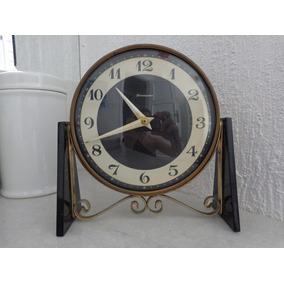 Relógio De Mesa Inglês A Corda Antigo Funcionando