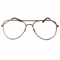 Armação Dourada Aviador Caçador Tam: M Óculos Lentes De Grau