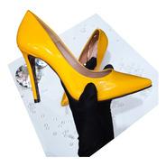 Sapato Scarpin Feminino Amarelo Salto Alto