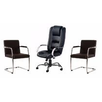 Kit Cadeira Escritório: Presidente + 2 Cadeiras Fixas