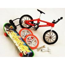 Miniatura Bicicleta De Dedo E Mini Skate (7pcs) + Kit Reparo