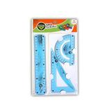 Set De Geometría X3 Flexible Regla 20cm Escuad Y Transp 4803