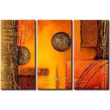 Cuadro Triptico Decorativo Abstracto Calido Relieve