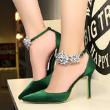 Sapato Feminino Salto Alto Flor De Cristal Importado Eventos