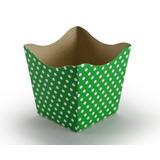 Mini Cachepot De Papel Poá Verde Com Branco - 10 Unidades