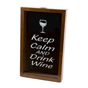 Quadro Porta Rolha De Vinho De Madeira Naturals Keep Calm An