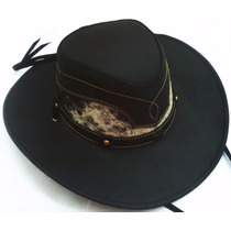 Sombrero De Piel Negro Genuina Combinado Pelo Auténtico