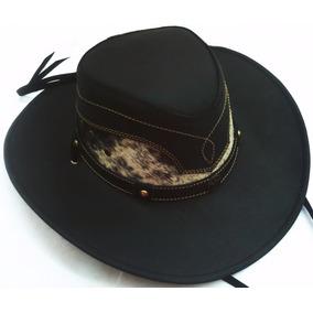 Sombrero De Piel Color Negro Combinado Pelo Auténtico Mayore