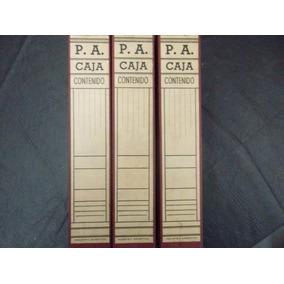 3 Cajas Forradas Con Tapa Volcada Con Sujetapapel Interior