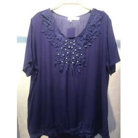 Camisata Femenina Tamanho Grande Renda Com Pérola