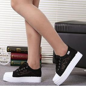 Sapato Plataforma Em Renda Importado ( Frete Grátis )