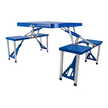 Mesa Plegable Con Sillas Para Camping Azul Klatter