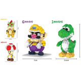 X4 Figuras Mario Bros Armable Mini Blocks Yoshi Wario Toad