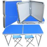 Mesa Plegable Aluminio + Taburetes Camping Hogar 1.20x0.60