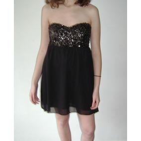 Vestido 47 Street Negro Lentejuelas Strapless Talle L Boedo