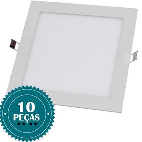 Kit 10 Painel Plafon Luminária Led Quadrado Embutir 25w 24w