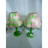 Par De Abajur Infanto Juvenil Verde E Rosa 35 X 23 X 23 Cm