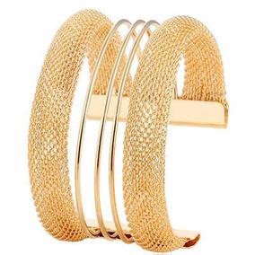 Bracelete Pulseira Dourado Aberto E Grande Linda N02