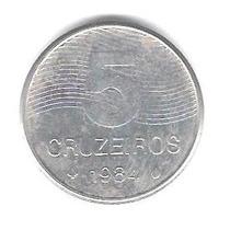 Moeda Antiga 5 Cruzeiros 1984 - Inox - Café