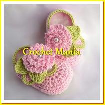 Zapatitos Tejidos A Crochet Para Niñas 0-12 Meses