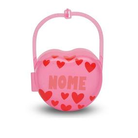 Porta Chupeta Com Nome Do Bebê Personalizado Rosa Ou Azul