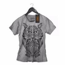 Camiseta Roupas Feminina Coruja Estilo Moda Hippie Top Cinza