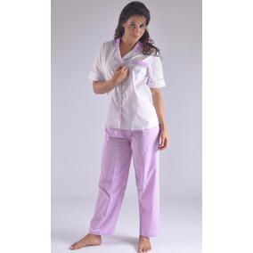 Pijama Pantalon Largo Con Cuello Mujer Femenina A8935