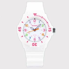 Relógio Infantil Skmei 1043 Analógico Branco Com Nf