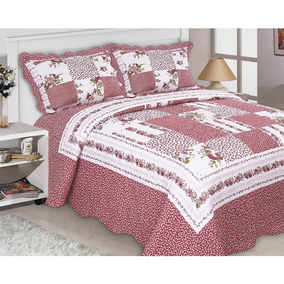Colcha Realce Patchwork Casal 3 Peças - Isis