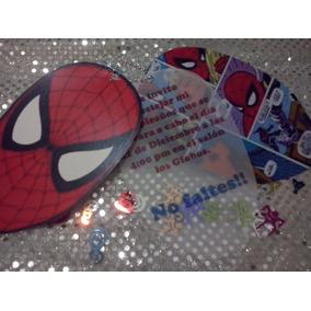 50 Invitacion Con Cadenita Hombre Araña, Spiderman