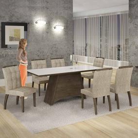 Mesa De Jantar Malaga Vidro Branco C/6 Cadeiras Imperial Beg