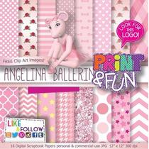 32 Itens Kit Digital Editavel Scrapbook Angelina Pra Arte