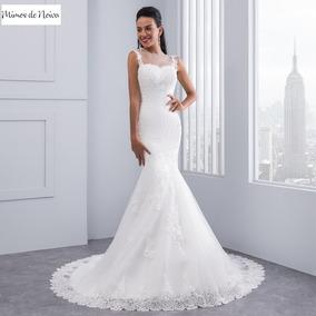 Vestido De Noiva Calda Sereia Rendado Decote V Costas